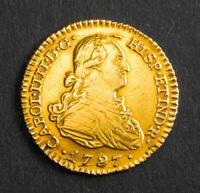 1797 CHARLES IV OF SPAIN. BEAUTIFUL SPANISH GOLD 1 ESCUDO COIN. 3.33GM