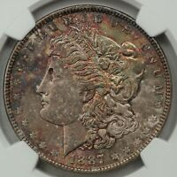 1887 MORGAN SILVER DOLLAR, NGC MINT STATE 64 CAC, SPECKLED RAINBOW GEM WITH GREAT LUSTER