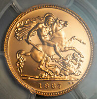 1987 GREAT BRITAIN ELIZABETH II. PROOF GOLD  SOVEREIGN COIN. PCGS PR 68 DCAM