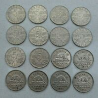 LOT / DATE RUN OF 16 CANADA CANADIAN 5 CENT NICKEL COINS 1927 42 NICE