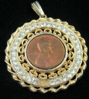 1953-S LINCOLN WHEAT CENT CENT- TONED IN NECKLACE BEZEL LOT044