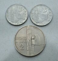 LOT OF 3 OLD 1924 42 ITALY ITALIAN COINS 20 CENT 2 LIRE VITTORIO EMANUELE
