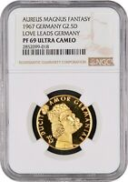 1967 GERMANY 2.5 DUCAT GOLD AUREUS MAGNUS   LOVE LEADS NGC PF69 ULTRA CAMEO