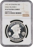 1972 ETHIOPIA 5 DOLLARS SILVER PROOF W/ HAILE SELASSIE LION NGC PF67 ULTRA CAMEO