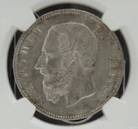 1873 BELGIUM 5 FRANCS SILVER NGC MS61 UNCIRCULATED