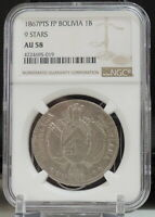 1867 BOLIVIA BOLIVIANO 9 STARS SILVER NGC AU58 ALMOST UNCIRCULATED  TOP POP