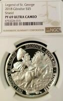 2018 GIBRALTAR 5 POUNDS LEGEND OF ST. GEORGE PROOF SILVER NGC PF69 ULTRA CAMEO