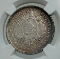 OLD 1897 BOLIVIA BOLIVIAN SILVER 50 CENT COIN PART COLLAR ERROR NGC AU58