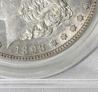 1893 P PCGS AU53 VAM-4 MORGAN SILVER DOLLAR TOP 100 VAM4 DOUBLED STARS ABOUT UNC