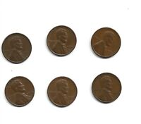 1950, 1951, 1953, 1955, 1955-D, 1956 LINCOLN WHEAT CENTS - 6 COINS LC06