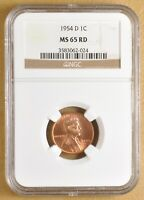 1954 D LINCOLN WHEAT CENT NGC MINT STATE 65RD