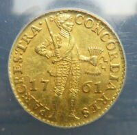 1761 NETHERLANDS WEST FRIESLAND GOLD DUCAT ANACS MS62 UNCIRCULATED