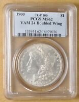 1900 P MORGAN SILVER DOLLAR VAM-24 DOUBLED WING PCGS MINT STATE 62