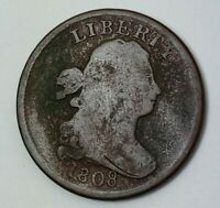 1808 DRAPED BUST HALF CENT ALMOST VG DETAIL LIGHT GREEN SURFACE CORROSION