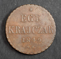 1849 HUNGARY  WAR OF INDEPENDENCE . COPPER 1 KRAJCZAR COIN.  VF    DATE
