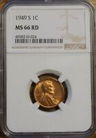 1949-S LINCOLN WHEAT CENT 1 - GRADED BY NGC MINT STATE 66 RED-4958210-024