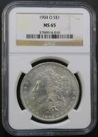 1904-O $1 MORGAN DOLLAR NGC MINT STATE 65 BRILLIANT WHITE COLLECTOR COIN SHIPS FREE