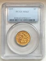 1895 $5 GOLD LIBERTY HEAD HALF EAGLE MS63 PCGS