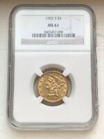 1905 S $5 MS61 NGC LIBERTY HEAD GOLD COIN HALF EAGLE   STUNN