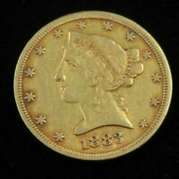 1883  $5 DOLLAR LIBERTY HEAD US GOLD COIN HALF EAGLE LOT775
