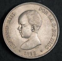 1892 KINGDOM OF SPAIN ALFONSO XIII. LARGE SILVER 5 PESETAS COIN. AU UNC
