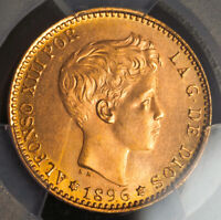 1896  1962  KINGDOM OF SPAIN ALFONSO XIII. GOLD 20 PESETAS COIN. PCGS UNC