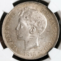 1898 KINGDOM OF SPAIN ALFONSO XIII. LARGE SILVER 5 PESETAS COIN. NGC MS 62