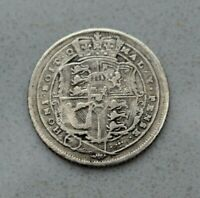 OLD 1820 GREAT BRITAIN BRITISH SILVER 6 PENCE COIN GEORGE III NICE