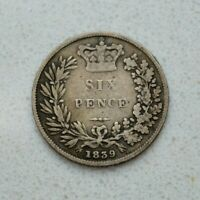 OLD 1839 GREAT BRITAIN BRITISH SILVER 6 PENCE COIN VICTORIA NICE