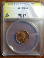 1946 S MINT STATE 66 RD LINCOLN CENT WHEAT CENT ANACS