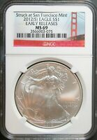 2012 S AMERICAN SILVER EAGLE EARLY RELEASES NGC MINT STATE 69