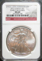 2011 AMERICAN SILVER EAGLE, EARLY RELEASES, NGC MINT STATE 69
