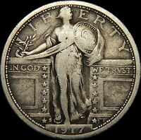 CIRCULATED 1917-S TYPE-1 STANDING LIBERTY QUARTER  57A