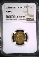 1889 ETHIOPIA HALF 1/2 WERK GOLD NGC MS62 UNCIRCULATED MENELIK II LION OF JUDAH