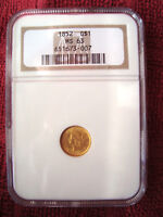 1852 G$1 GOLD DOLLAR $1 NGC MS63 GOLD COIN