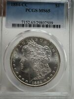 1884-CC $1 SILVER MORGAN DOLLAR MINT STATE 65 PCGS CERTIFIED  7509
