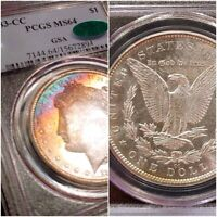 1883-CC GSA PCGS MINT STATE 64 CAC SEMI PL BOTH SIDES RAINBOW TONED COLOR MORGAN