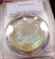 1879-S PCGS MINT STATE 63 RAINBOW TONED MONSTER BLUEBERRY COLOR MORGAN FLASHY LUSTER