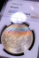 1884-CC NGC MINT STATE 62  STAR  UNDER-GRADED RAINBOW TONED COLOR MORGAN LUSTER BOMB