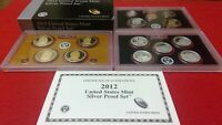 2012 US MINT SILVER PROOF SET WITH BOX AND COA