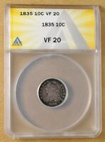 1835 CAPPED BUST DIME ANACS VF20
