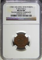 1861-65 F-202/434 A TRADESMENS CURRENCY NGC MINT STATE 64 BN