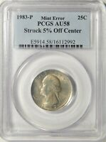 1983-P WASHINGTON QUARTER STRUCK 5 OFF CENTER PCGS AU-58