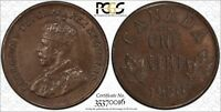 1920 CANADA SMALL CENT PCGS MINT STATE 63 BN STRUCK THRU 1C
