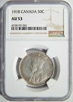 1918 CANADA SILVER FIFTY CENTS NGC AU-53 50C
