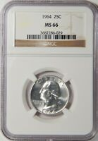 1964 P WASHINGTON SILVER QUARTER NGC MINT STATE 66