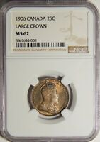 1906 CANADA SILVER 25 CENTS LARGE CROWN NGC MINT STATE 62 25C