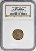 1863 CIVIL WAR TOKEN F-46/350 A NGC MINT STATE 63 RB