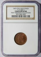 1863 TOKEN F-17/388 A MILLIONS FOR DEFENCE NGC MINT STATE 64RB WISEMAN COLLECTION