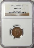 1864 L INDIAN HEAD CENT NGC MINT STATE 61 BN